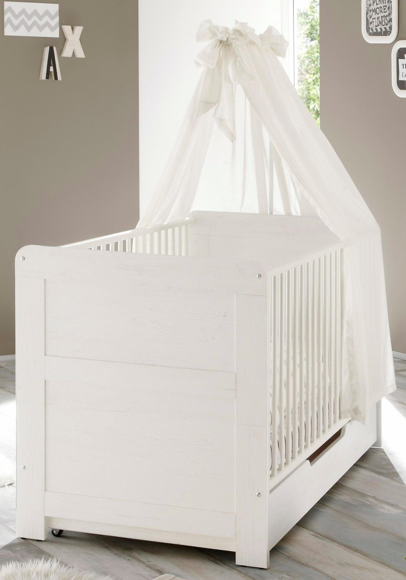 Unterbettauszug auf Rollen passend zur Babymöbel Serie »Landhaus« in pinie NB/weiß
