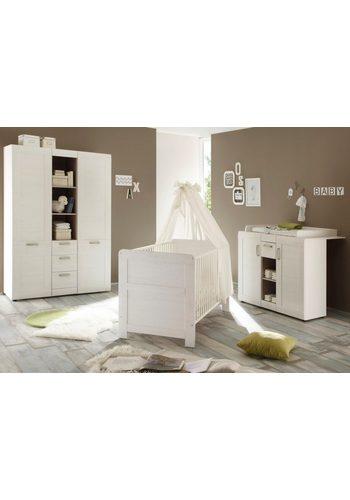 Komplett Babyzimmer Landhaus Babybett+Wickelkommode + Kleiderschrank, (3-tlg.) in pinie NB, weiß weiß   04251014140848