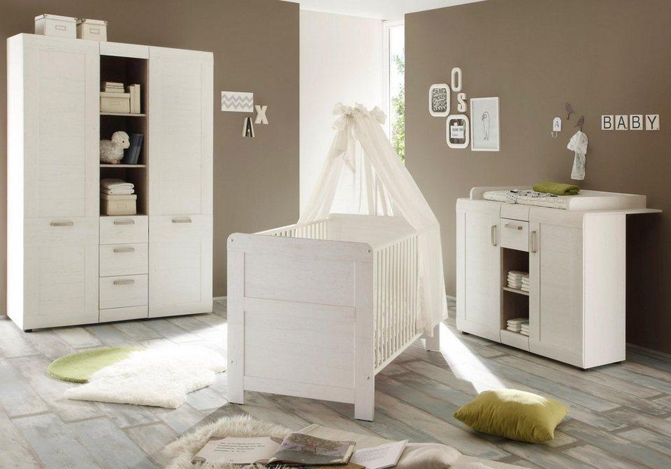 Komplett Babyzimmer »Landhaus« Babybett+Wickelkommode + Kleiderschrank, (3-tlg.) in pinie in pinie Nachbildung/weiß