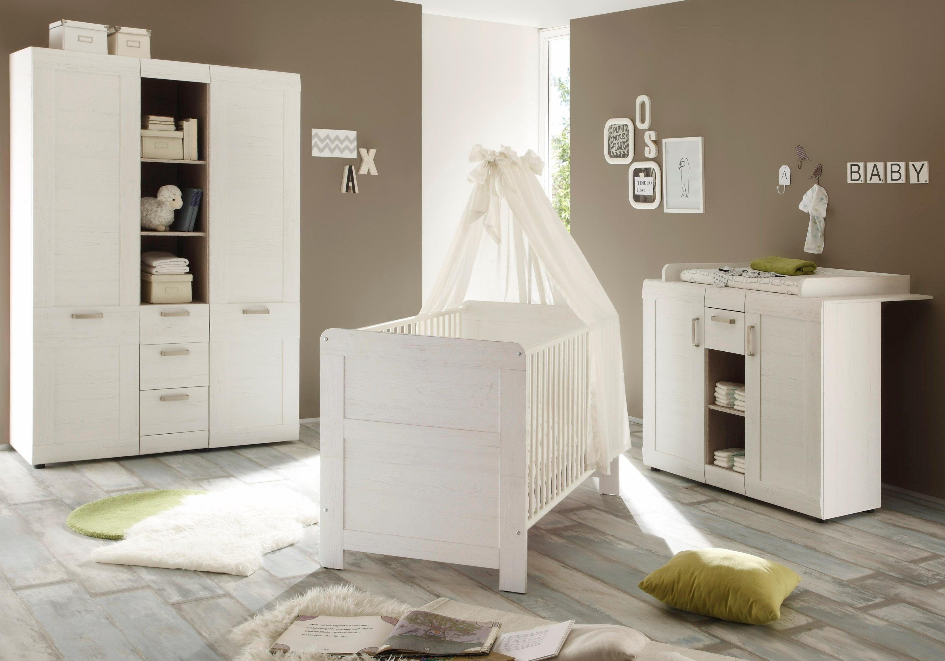 Komplett Babyzimmer »Landhaus« Babybett+Wickelkommode + Kleiderschrank, (3-tlg.) in pinie NB, weiß