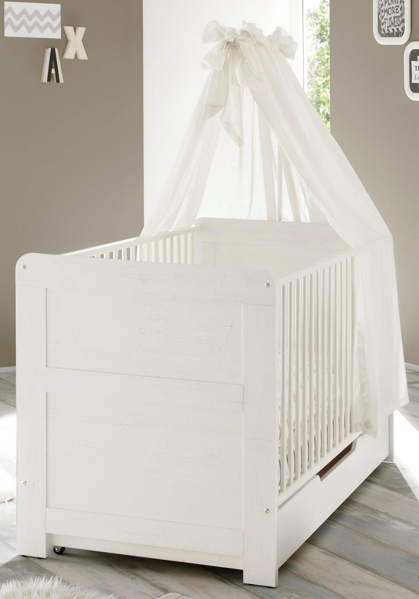 Babybett passend zur Babymöbel Serie »Landhaus« in pinie NB/weiß