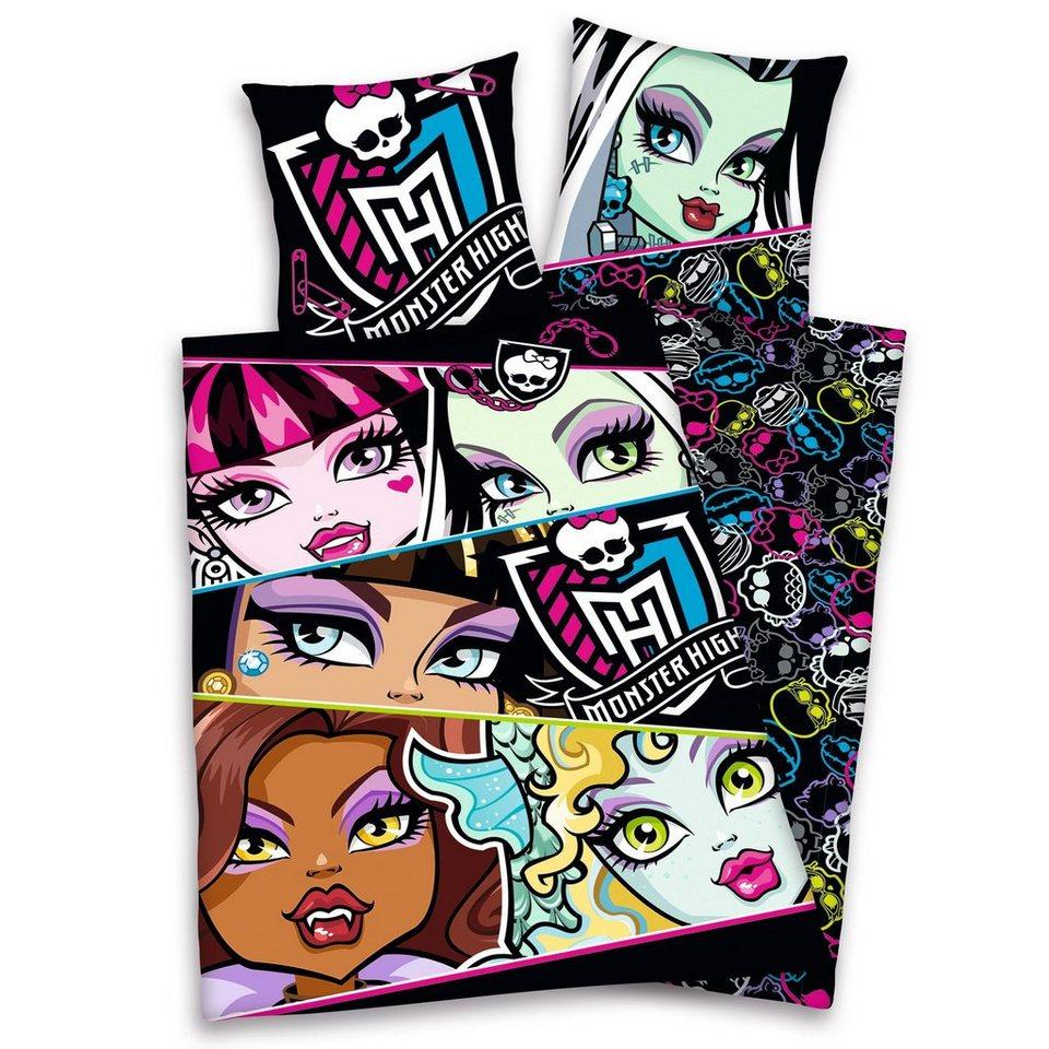 Bettwäsche, Monster High, »Totenköpfe«, mit cooler Wendeseite in schwarz