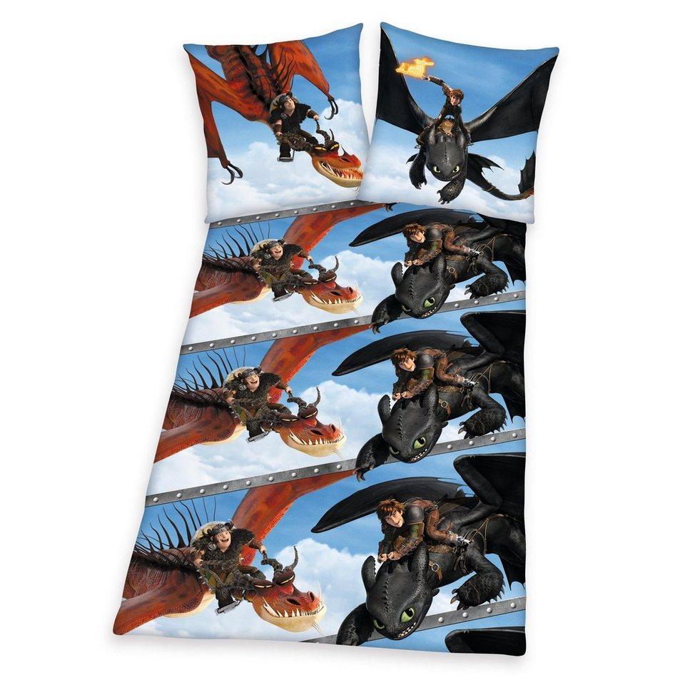 Bettwäsche, Dragons, »Wolkenflug«, mit Drachen-Motiv in hellblau