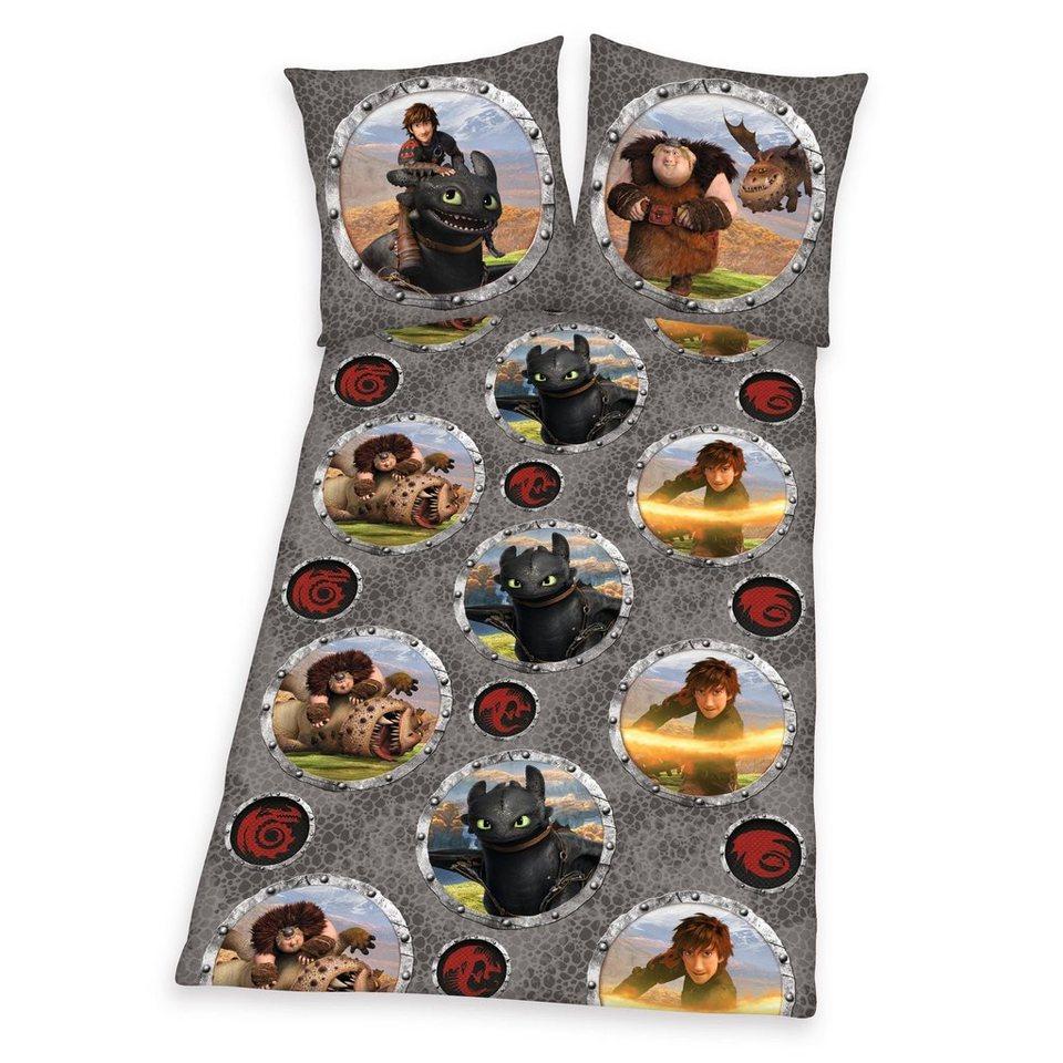 Bettwäsche, Dragons, »Drachenkampf«, mit Drachen-Motiven verziert in grau
