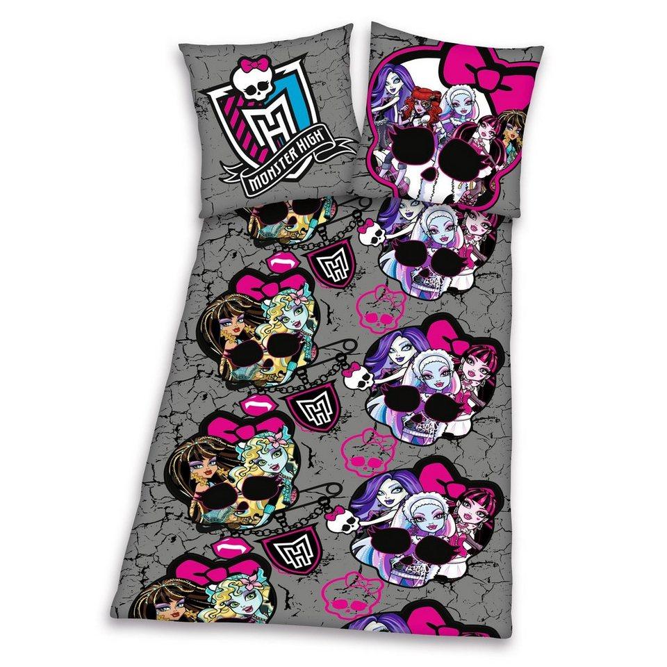 Bettwäsche, Monster High, »Mädchen power«, mit Monster High-Motiv in grau