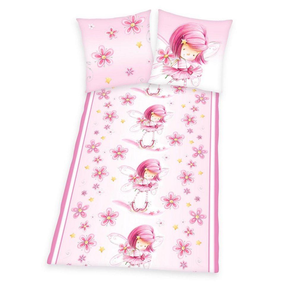 Bettwäsche, Lovelynn, »Ballerina«, mit niedlichen Blumen in rosa