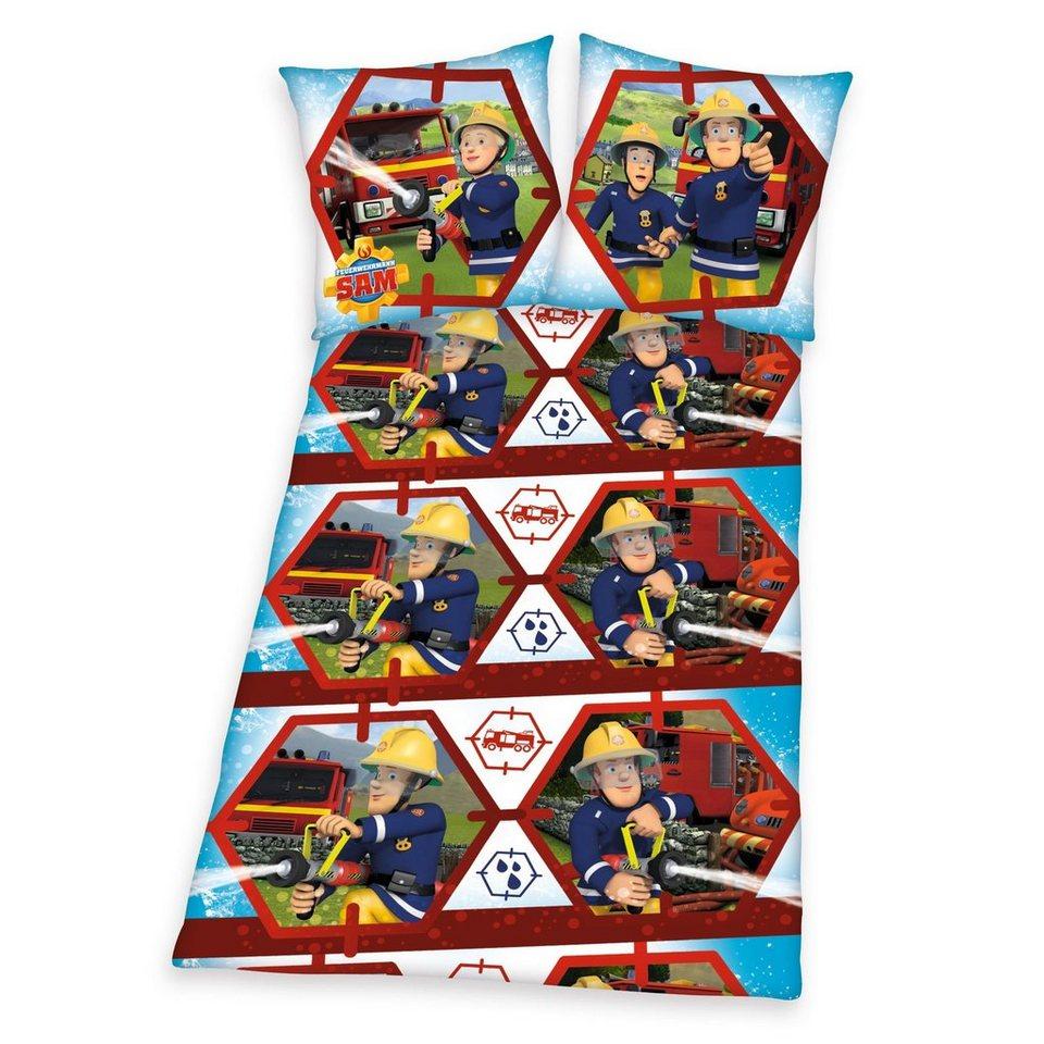 Bettwäsche, Feuerwehrmann Sam, »Feuerwehrschlauch«, mit Feuerwehr-Motiv in blau
