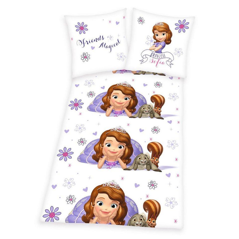 Bettwäsche, Disney Sofia die Erste, »Blümchen«, mit Blumen in weiß