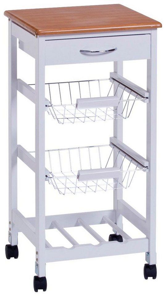 Küchenrollwagen »Bamboo«, weiß, 36x36x76 cm in weiß