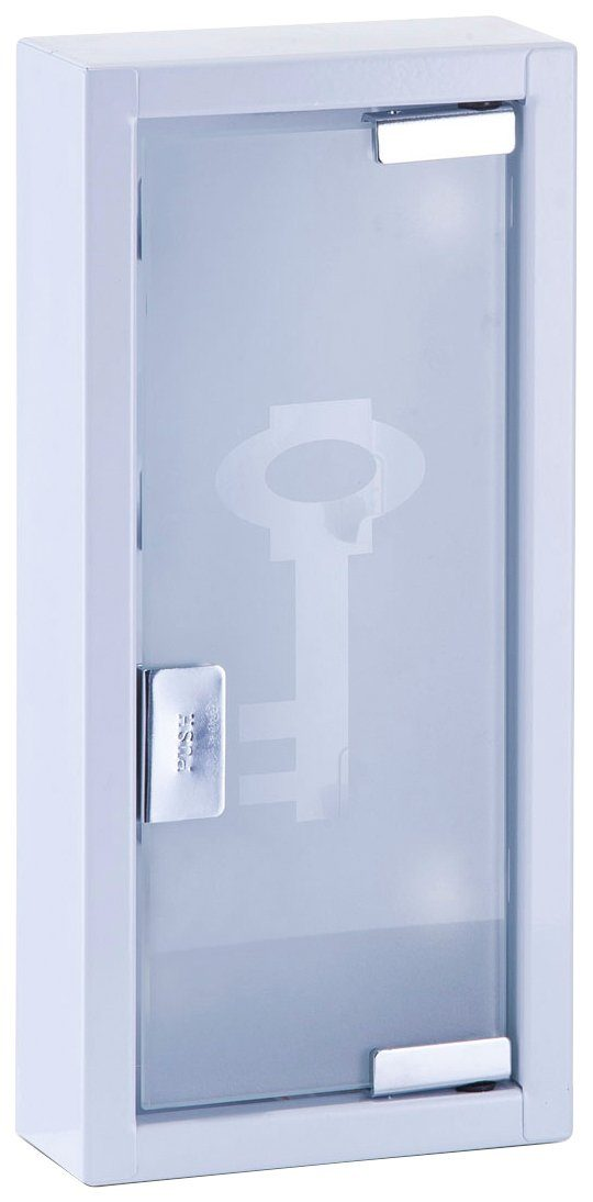 Schlüsselkasten aus Metall/Glas, weiß, 14x6x30 cm