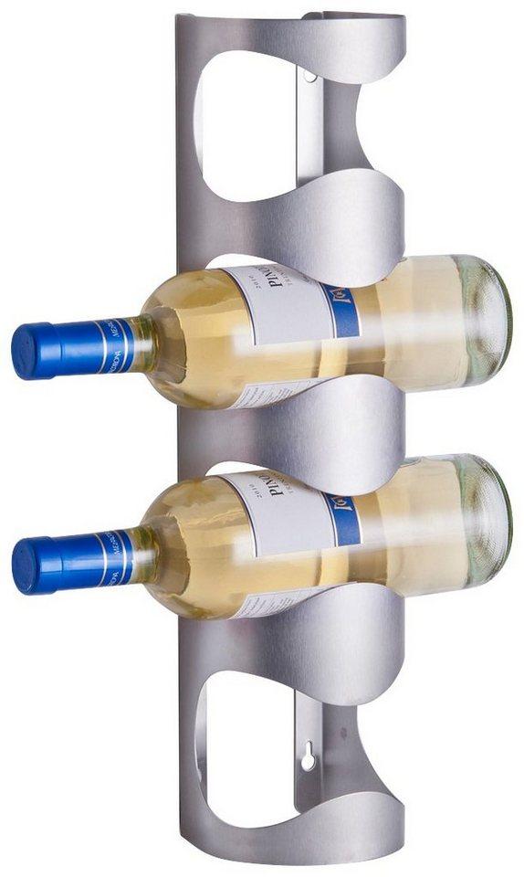 Wand-Flaschenregal für 4 Flaschen in silber