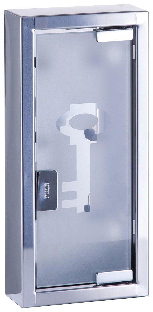 Schlüsselkasten aus Edelstahl/Glas, 14x6x30 cm