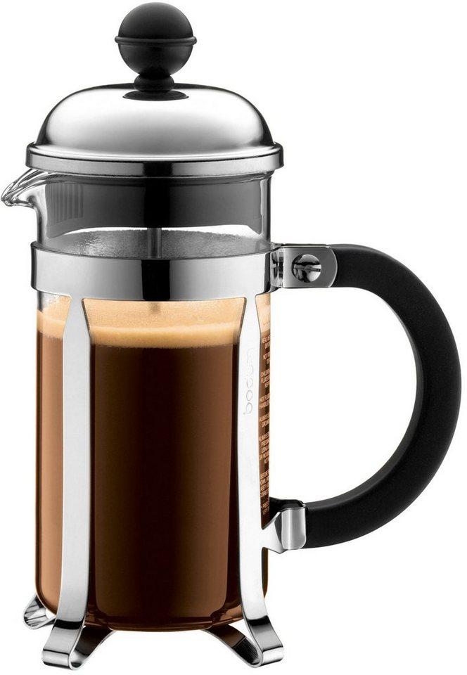 bodum® Kaffeebereiter, »CHAMBORD« in transparent/schwarz/silberfarben