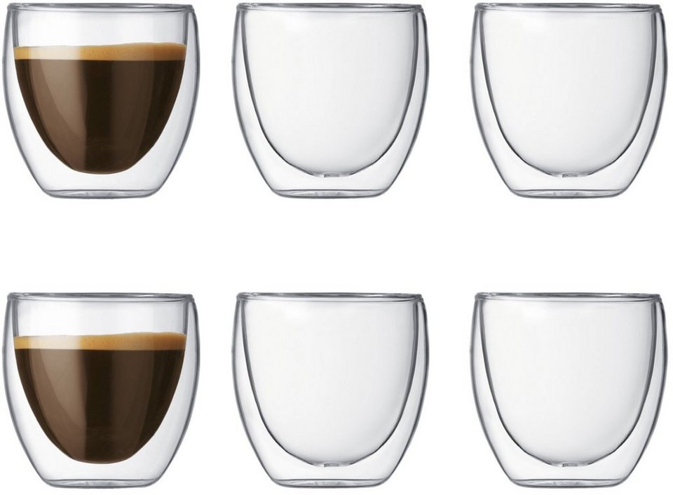 bodum® Glas, 6 Stück, doppelwandig, »PAVINA« in transparent