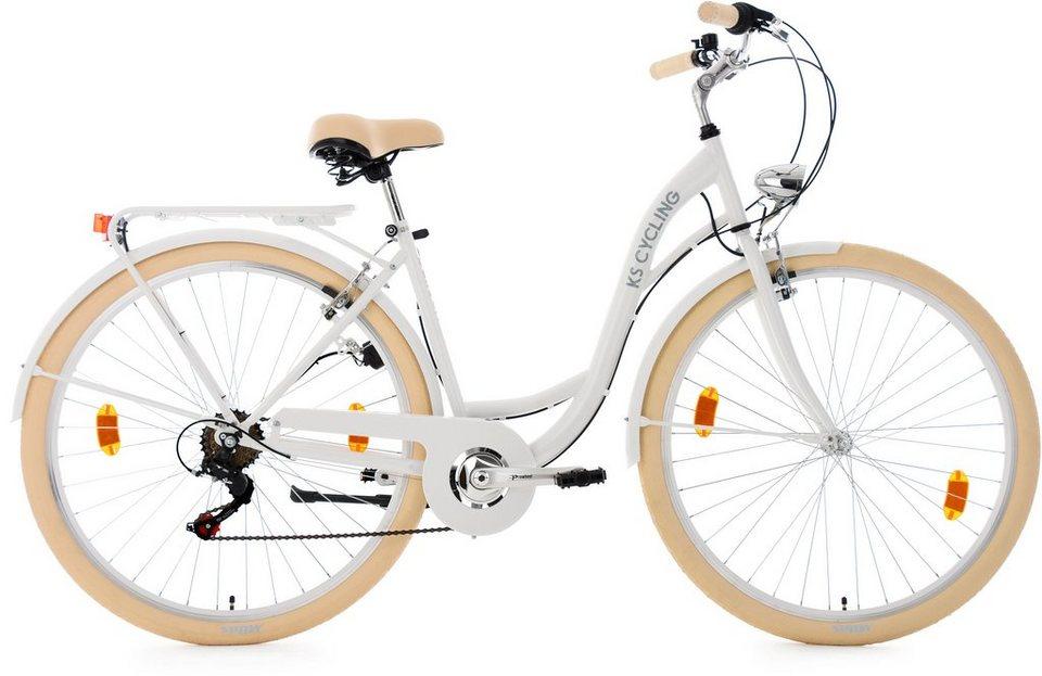 KS Cycling Damen-Cityrad, 28 Zoll, Shimano Tourney 6 Gang-Kettenschaltung, weiß, »Balloon« in weiß