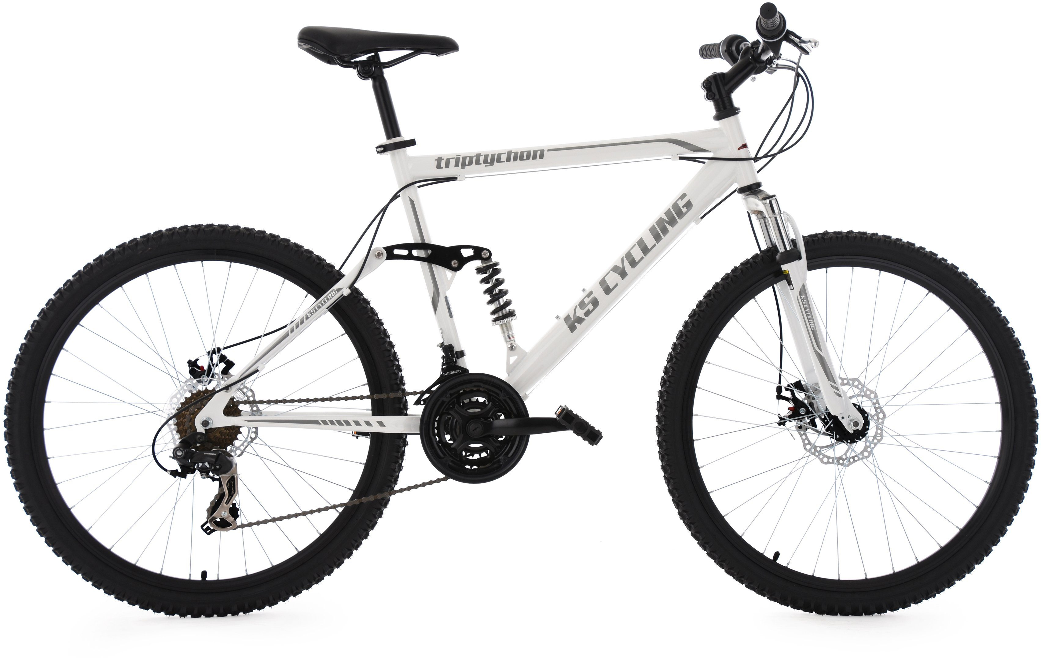 KS Cycling Herren Fully-Mountainbike, 26 Zoll, 21 Gang-Shimano Tourney Kettensch, weiß, »Triptychon«