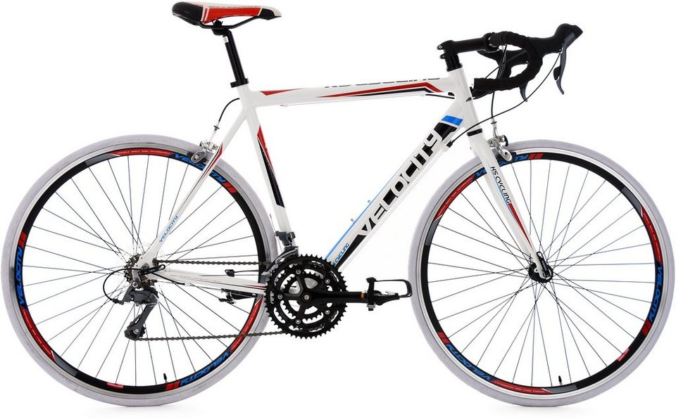 KS Cycling Rennrad, 28 Zoll, 24-Gang-Shimano Kettenschaltung, weiß-rot-blau, »Velocity« in weiß
