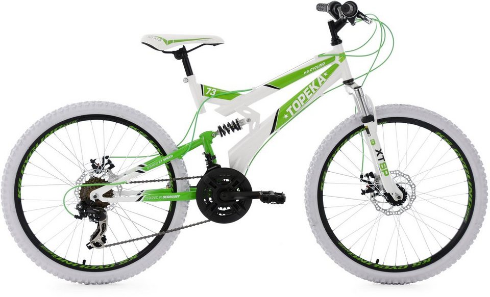 KS Cycling Kinder-MTB, 24 Zoll, Shimano Tourney 21 Gang-Kettenschaltung, weiß-grün, »Topeka« in weiß-grün