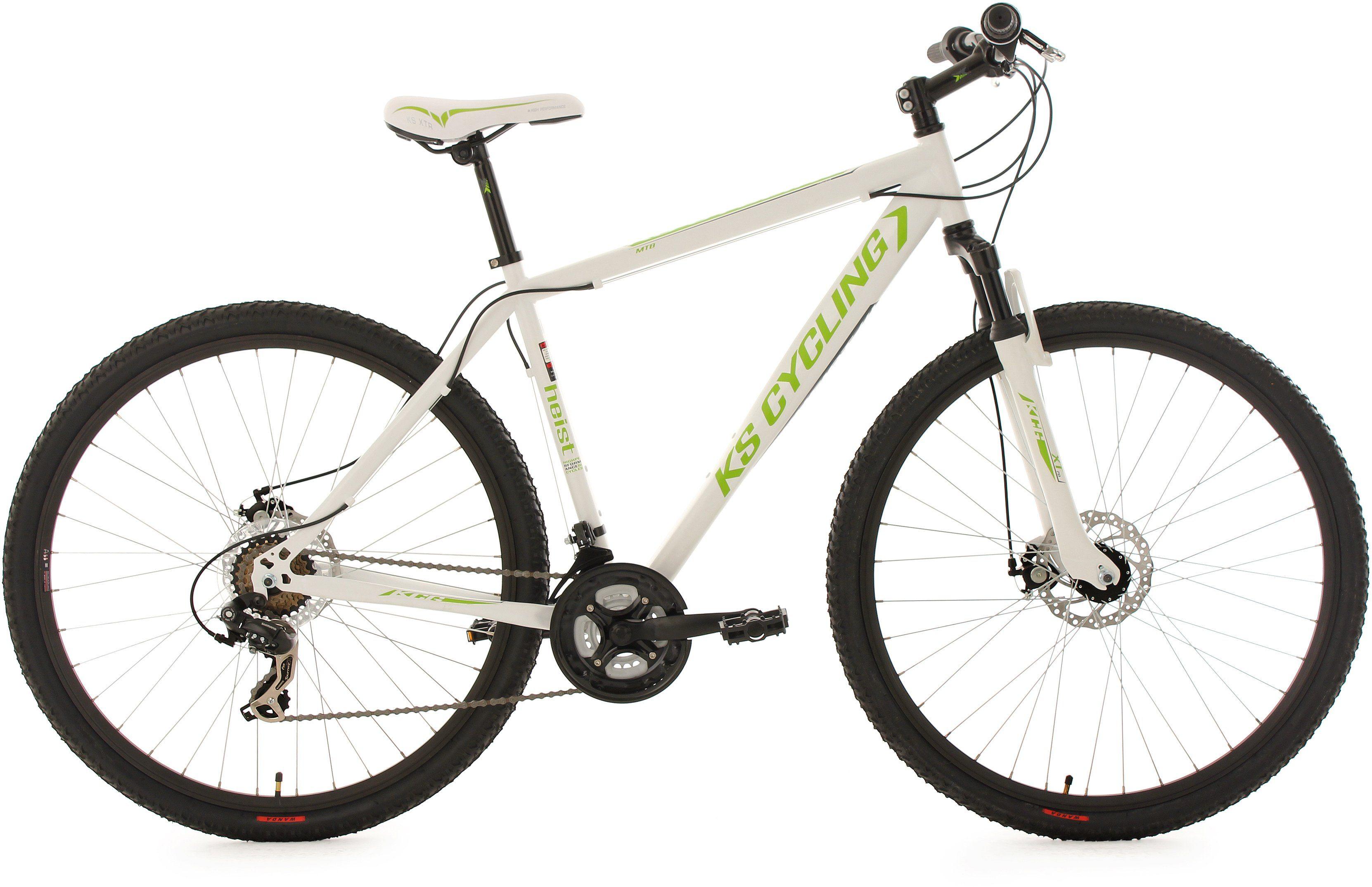 KS Cycling Hardtail-MTB, 29 Zoll, 21 Gang-Shimano Tourney-Kettenschaltung, weiß-grün, »Heist«