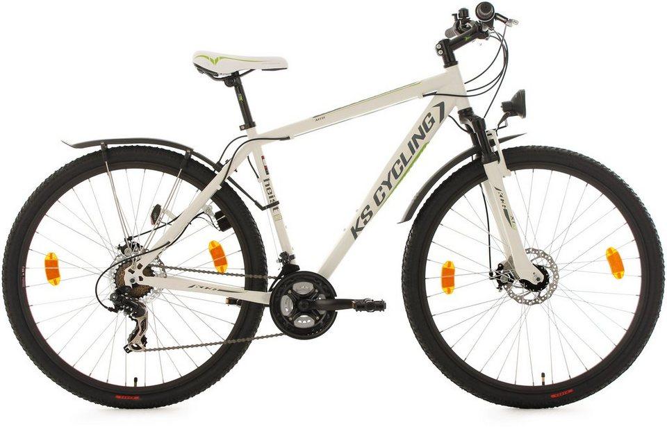 KS Cycling Hardtail-ATB, 29 Zoll, 21 Gang-Shimano Toruney Kettenschaltung, weiß-grün, »Heist« in weiß