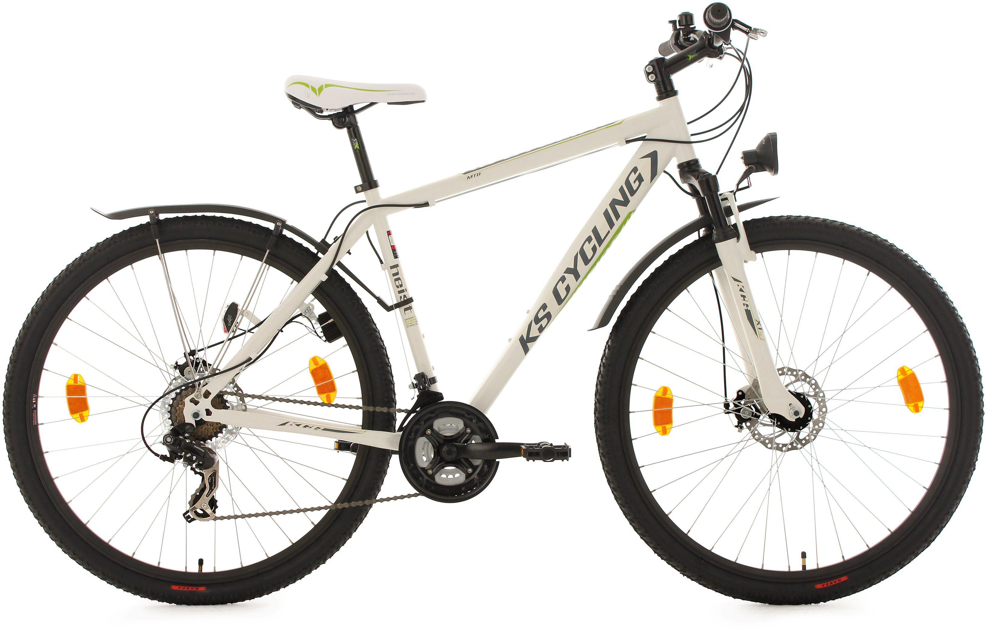KS Cycling Hardtail-ATB, 29 Zoll, 21 Gang-Shimano Tourney Kettenschaltung, weiß-grün, »Heist«