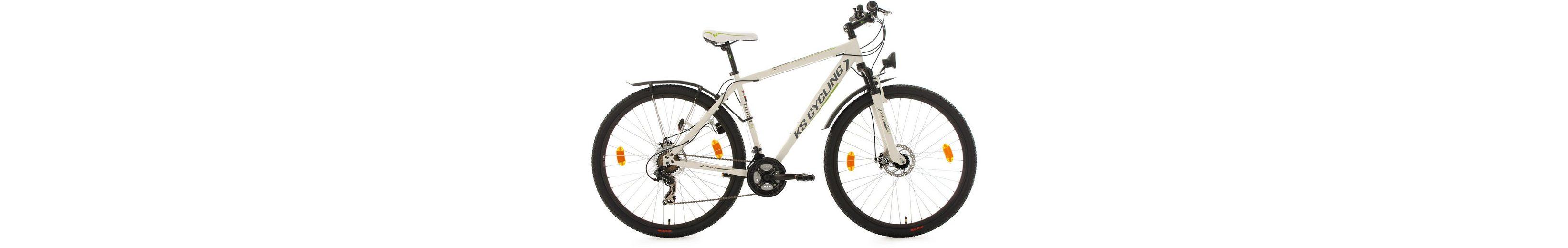 KS Cycling Hardtail-ATB, 29 Zoll, 21 Gang-Shimano Toruney Kettenschaltung, weiß-grün, »Heist«
