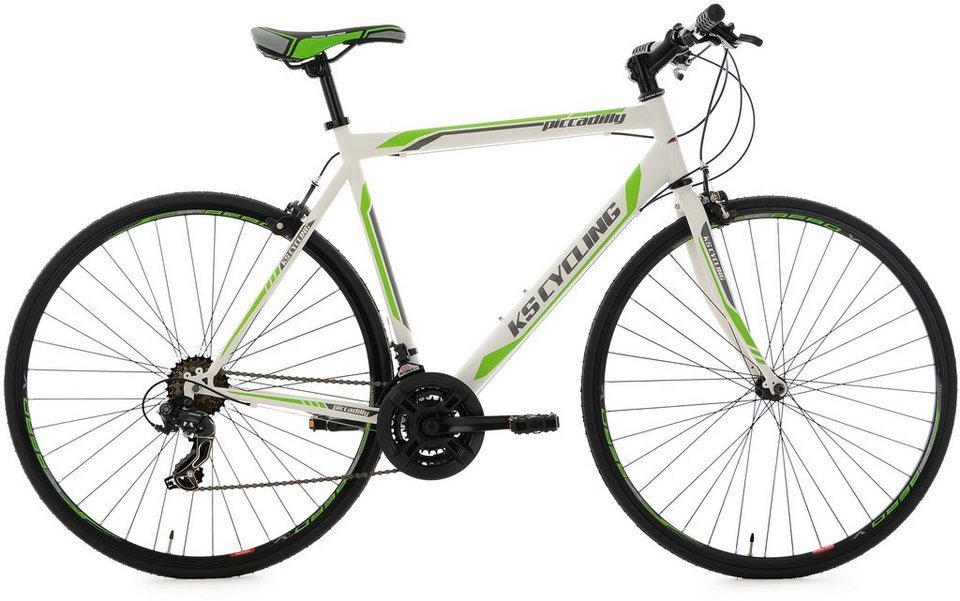 KS Cycling Fitnessrad, 28 Zoll, 21-Gang-Shimano Tourney Kettenschaltung, weiß-grün, »Piccadilly« in weiß