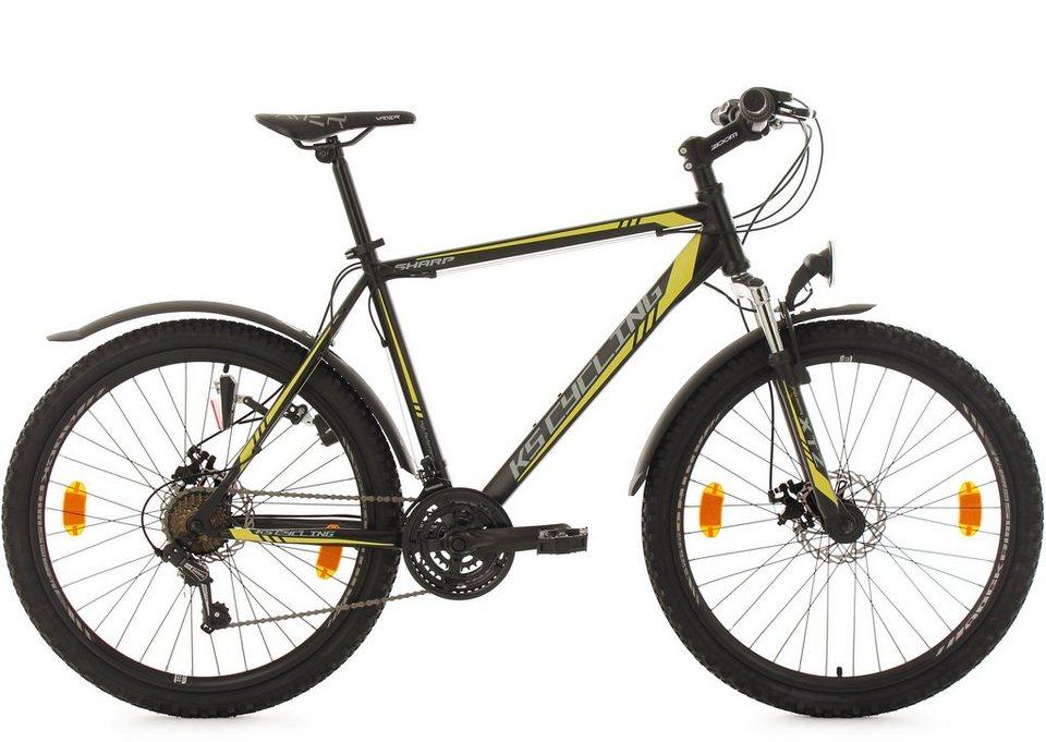 KS Cycling Herren Hardtail-MTB, 26 Zoll, 21 Gang-Shimano Tourney Kettensch, schwarz-gelb, »Sharp« in schwarz