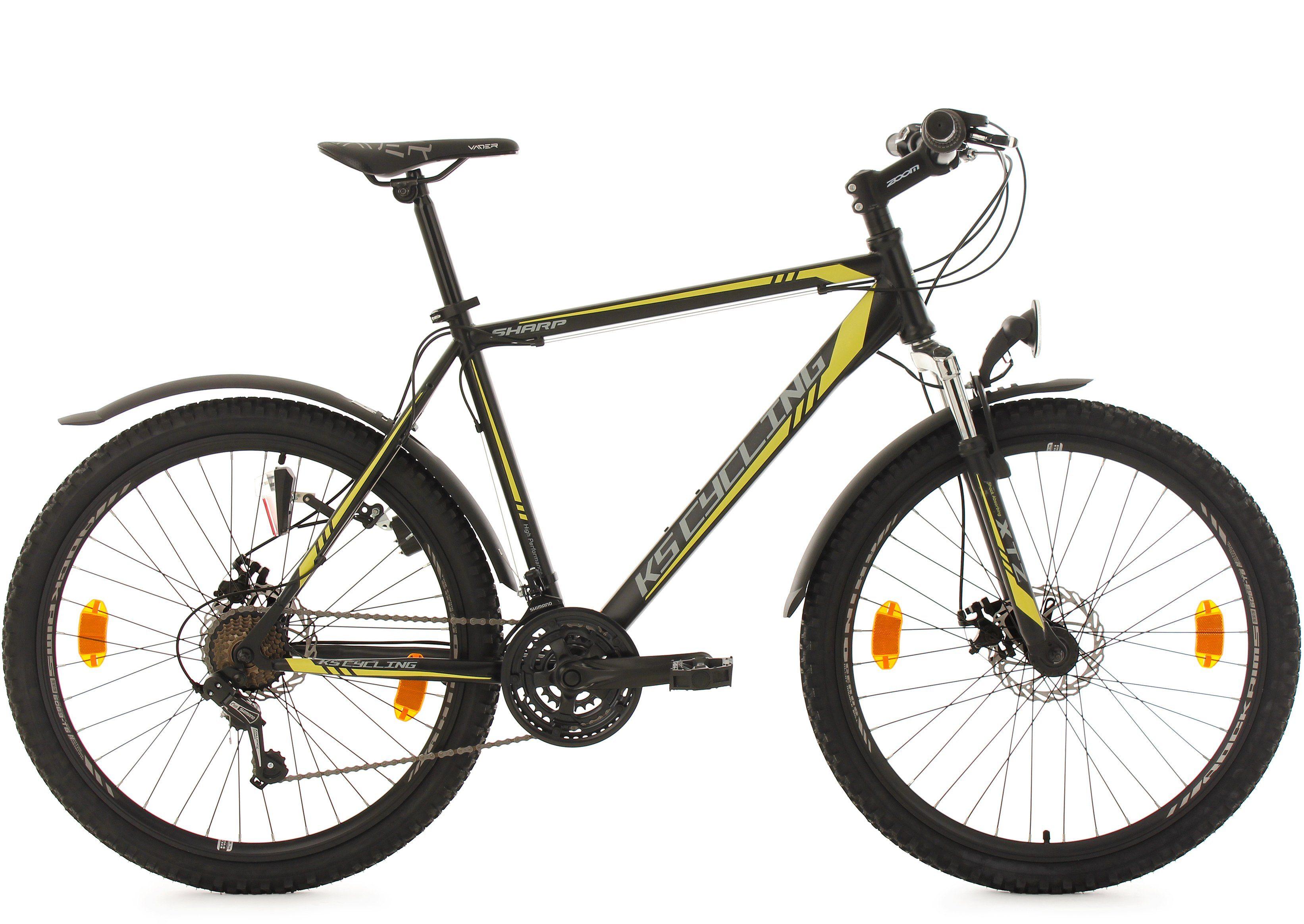 KS Cycling Herren Hardtail-MTB, 26 Zoll, 21 Gang-Shimano Tourney Kettensch, schwarz-gelb, »Sharp«