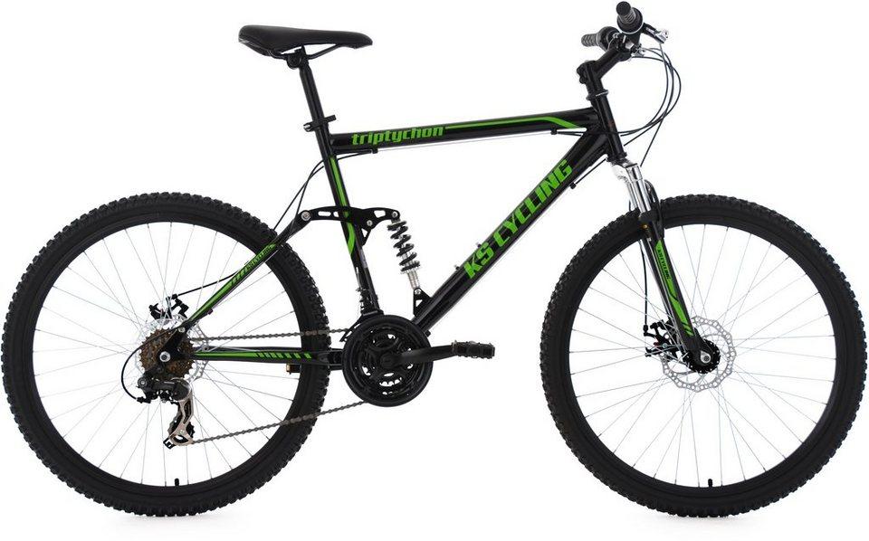 KS Cycling Herren Fully-Mountainbike, 26 Zoll, schwarz-grün, 21 Gang-Kettenschaltung, »Triptychon« in schwarz