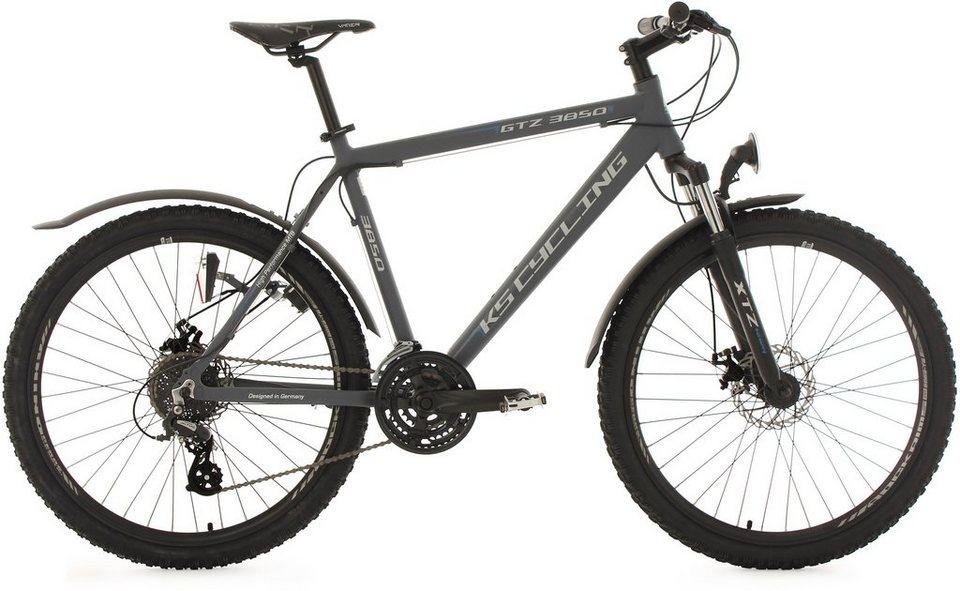 KS Cycling Herren Hardtail-MTB, 26 Zoll, 24 Gang-Shimano Altus Kettenschaltung, anthrazit, »GTZ« in anthrazit