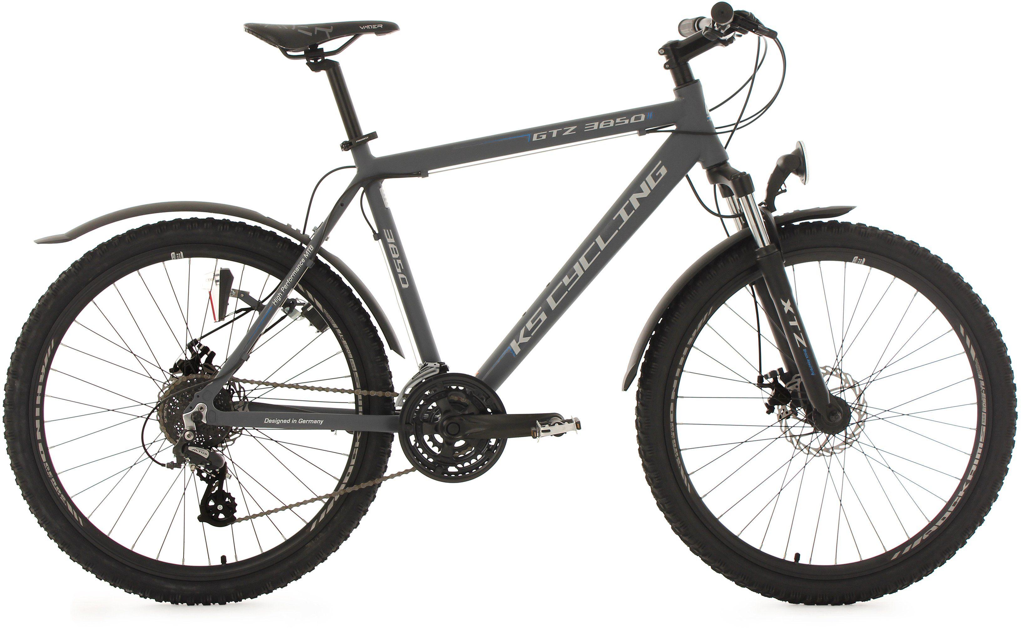 KS Cycling Herren Hardtail-MTB, 26 Zoll, 24 Gang-Shimano Altus Kettenschaltung, anthrazit, »GTZ«