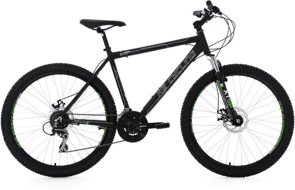 KS Cycling Herren Hardtail-MTB, 26 Zoll, 24 Gang-Shimano Acera Kettenschaltung, schwarz, »Xceed« in schwarz