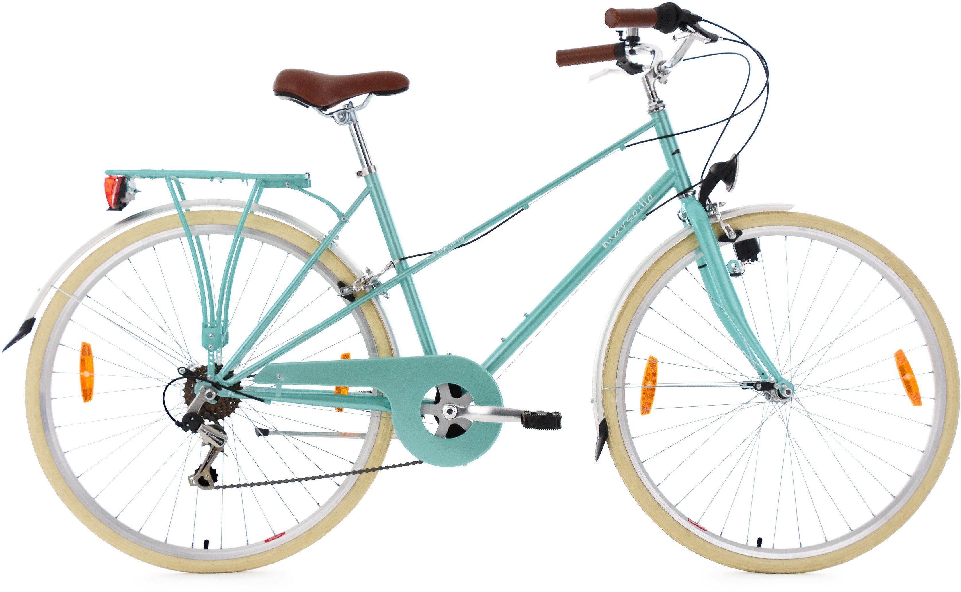 KS Cycling DA-Cityrad, 28 Zoll, Shimano Tourney 6 Gg-Kettenschaltung, türkis-metallic, »Marseille«