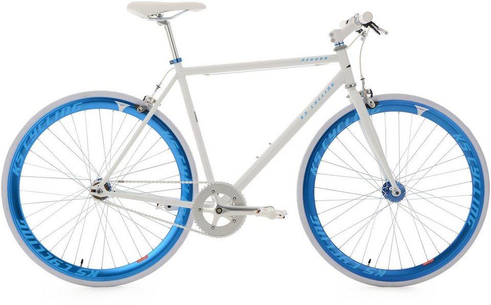 KS Cycling Fitnessrad, 28 Zoll, weiß-blau, »Pegado« in weiß
