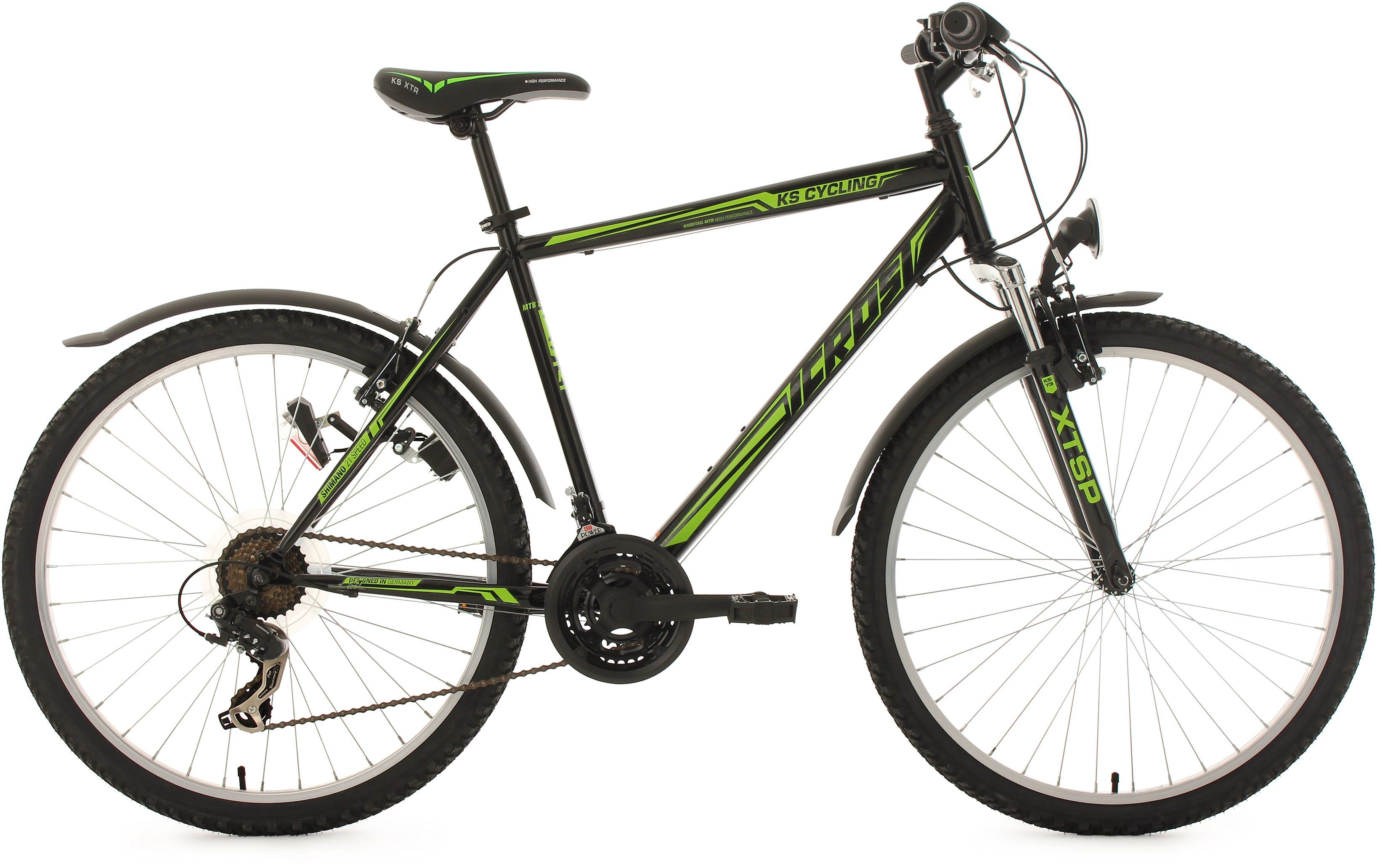 KS Cycling Herren Hardtail-MTB, 26 Zoll, 21 Gang-Shimano Tourney Kettensch, schwarz-grün, »Icros«