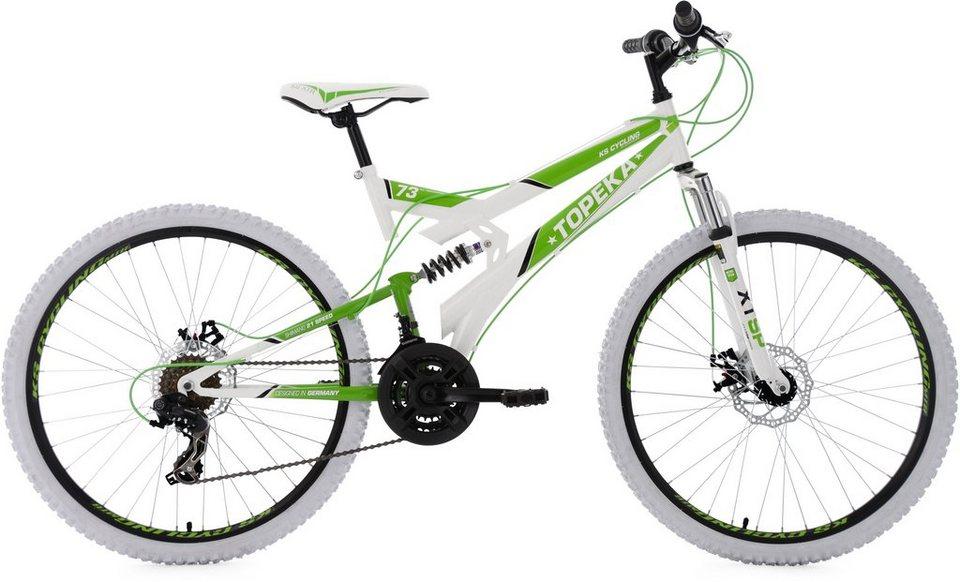 KS Cycling Fully-Mountainbike, 26 Zoll, 21 Gang-Shimano Tourney Kettenschaltung, weiß-grün, »Topeka« in weiß