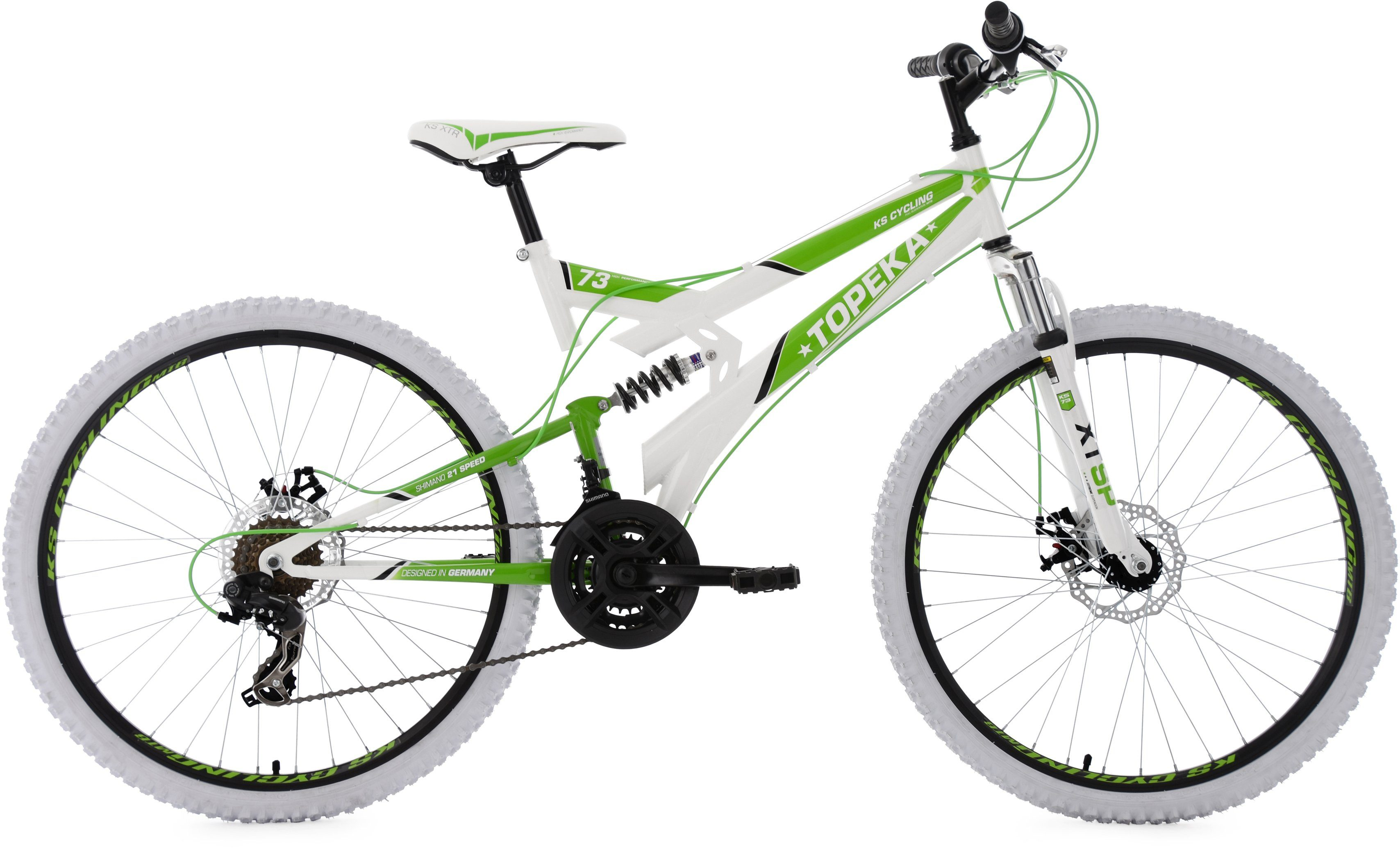 KS Cycling Fully-Mountainbike, 26 Zoll, 21 Gang-Shimano Tourney Kettenschaltung, weiß-grün, »Topeka«