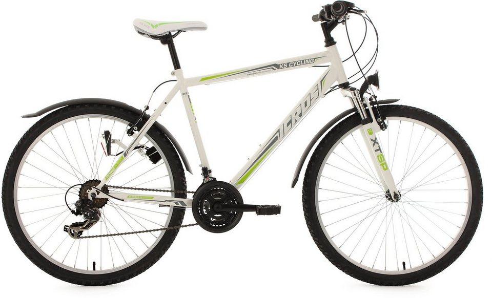 KS Cycling Herren Hardtail-MTB, 26 Zoll, 21 Gang-Shimano Tourney Kettenschaltung, weiß-grün, »Icros« in weiß