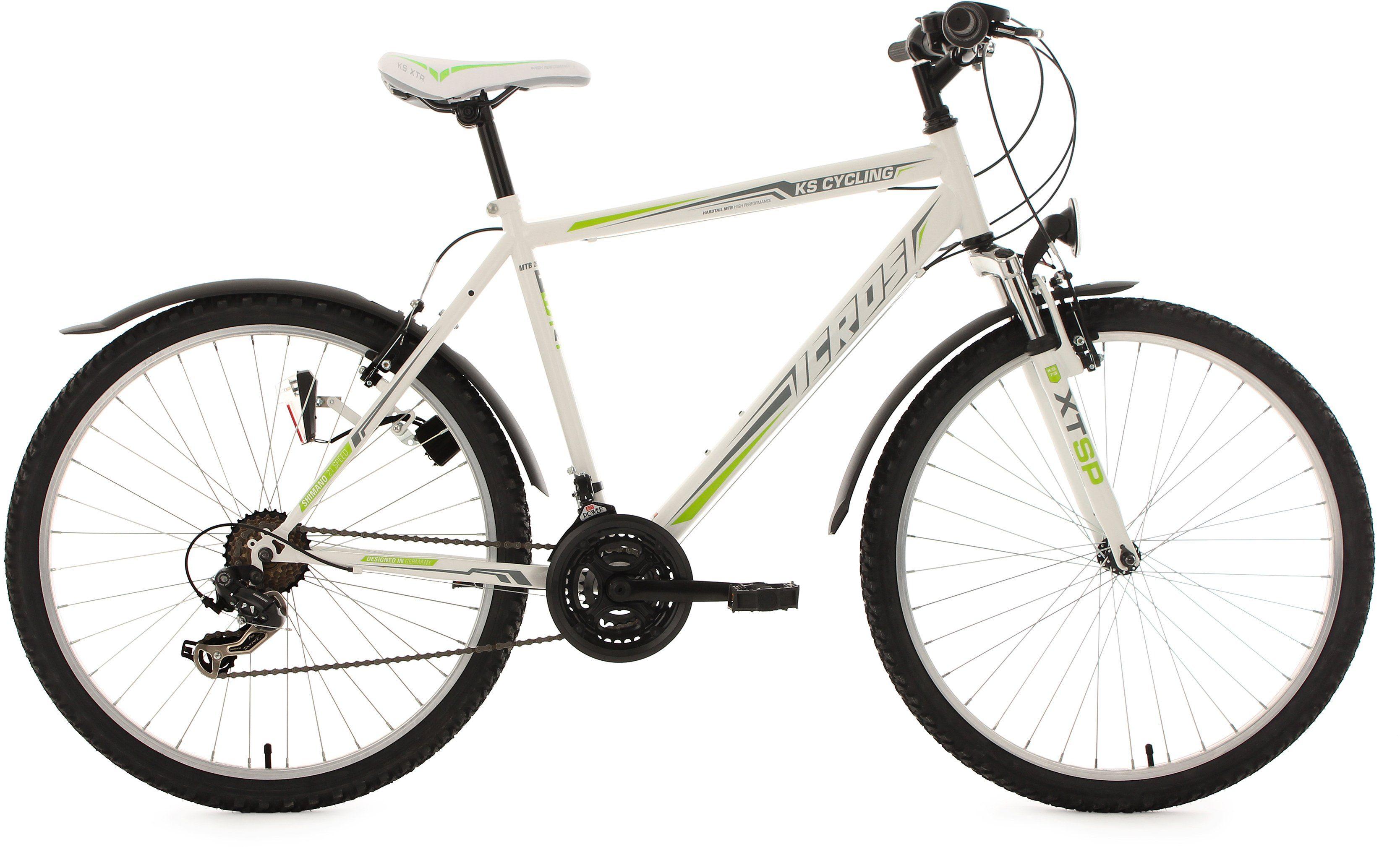 KS Cycling Herren Hardtail-MTB, 26 Zoll, 21 Gang-Shimano Tourney Kettenschaltung, weiß-grün, »Icros«