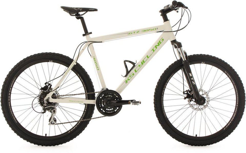 KS Cycling Herren Hardtail-MTB, 26 Zoll, 24 Gang-Shimano Acera Kettenschaltung, weiß-grün, »GTZ« in weiß