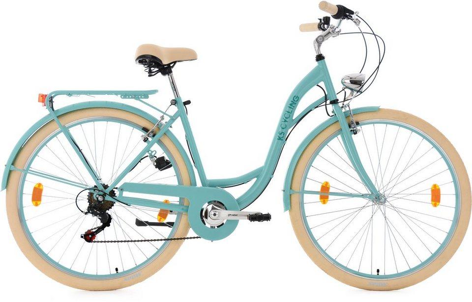 ks cycling damen cityrad 28 zoll shimano tourney 6 gang kettenschaltung t rkis balloon. Black Bedroom Furniture Sets. Home Design Ideas