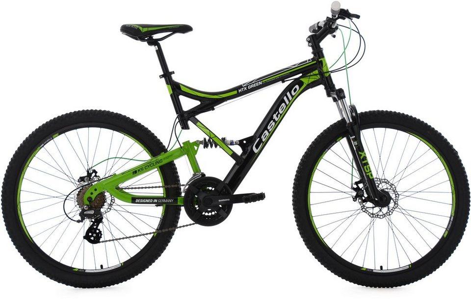 KS Cycling Herren Fully-MTB,26 Zoll,21 Gg-Shimano Tourney Kettensch, schwarz-grün, »Castello HTX« in schwarz