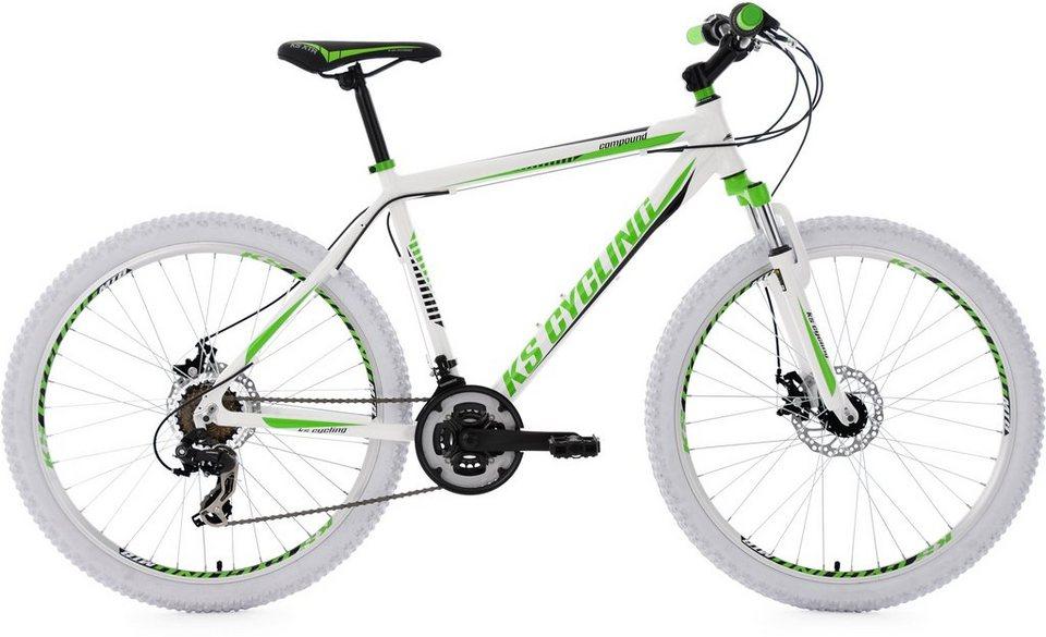 KS Cycling Herren Hardtail-MTB, 26 Zoll, 21 Gang-Shimano Tourney Kettensch, weiß-grün, »Compound« in weiß