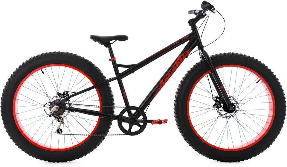 KS Cycling Herren Fatbike Mountainbike, 26 Zoll, 6 Gang-Shimano Kettensch, schwarz-rot, »SNW2458« in schwarz