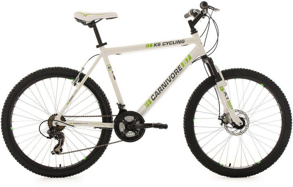 KS Cycling Hardtail-MTB, 26 Zoll, 21 Gang-Shimano Tourney Kettenschaltung, weiß-grün, »Carnivore« in weiß