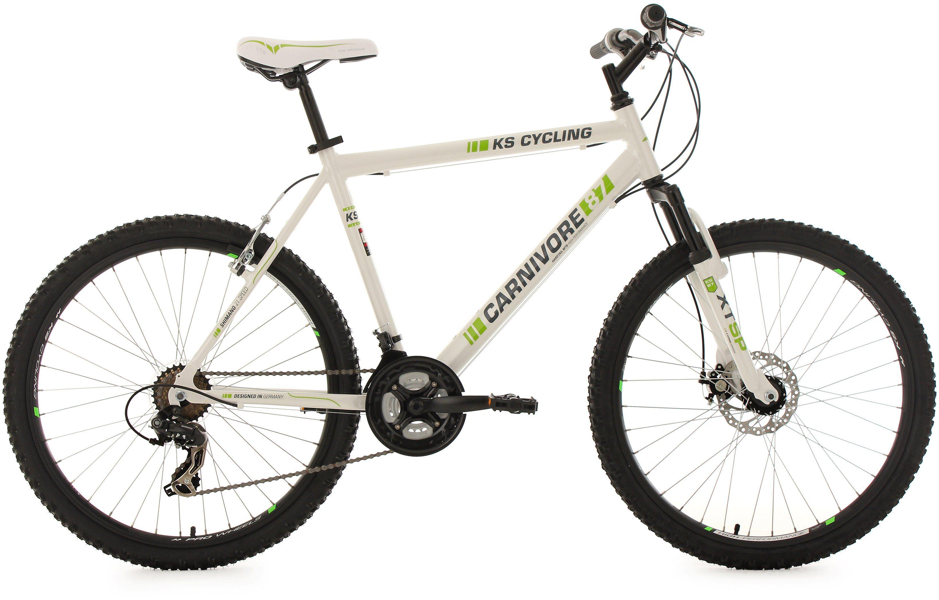 KS Cycling Hardtail-MTB, 26 Zoll, 21 Gang-Shimano Tourney Kettenschaltung, weiß-grün, »Carnivore«