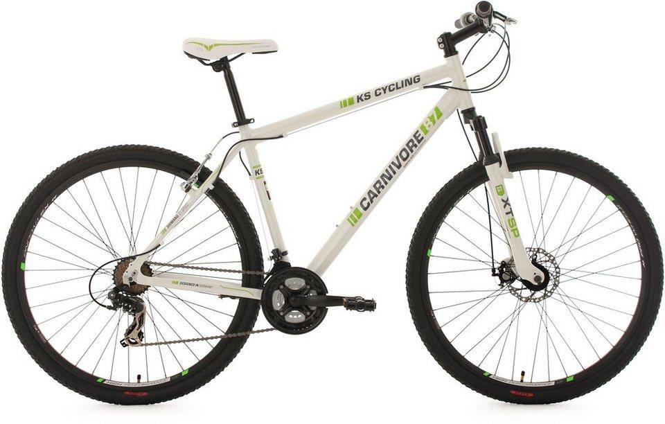 KS Cycling Hardtail-MTB, 29 Zoll, 21 Gang-Shimano Tourney Kettenschaltung, weiß-grün, »Carnivore« in weiß