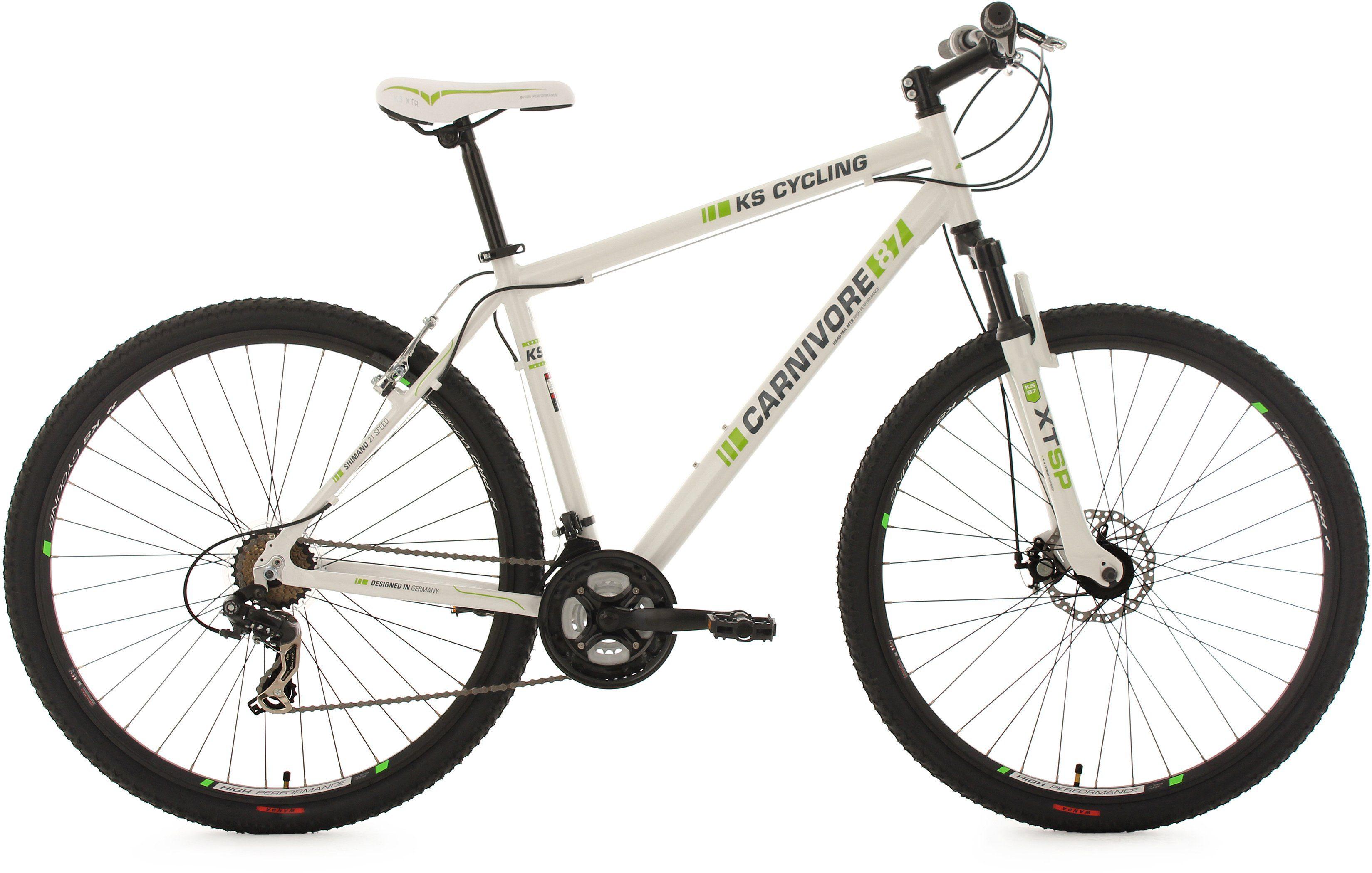 KS Cycling Hardtail-MTB, 29 Zoll, 21 Gang-Shimano Tourney Kettenschaltung, weiß-grün, »Carnivore«