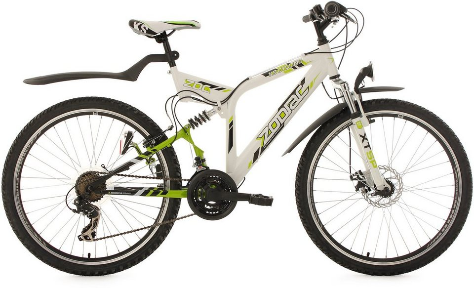 KS Cycling Fully-Mountainbike, 26 Zoll, 21 Gang-Shimano Tourney Kettenschaltung, weiß-grün, »Zodiac« in weiß